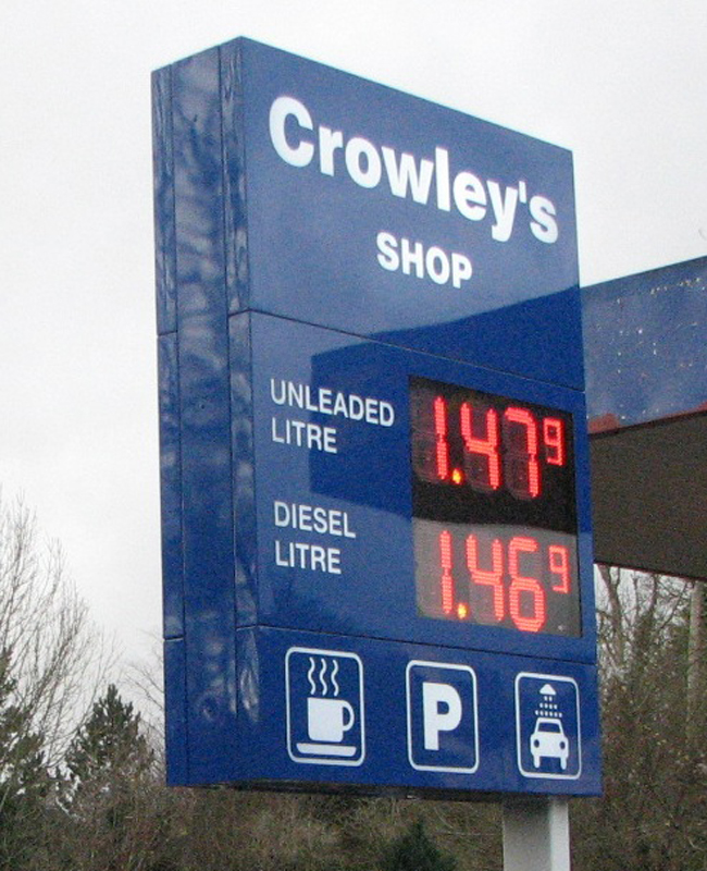 Petrol display sign